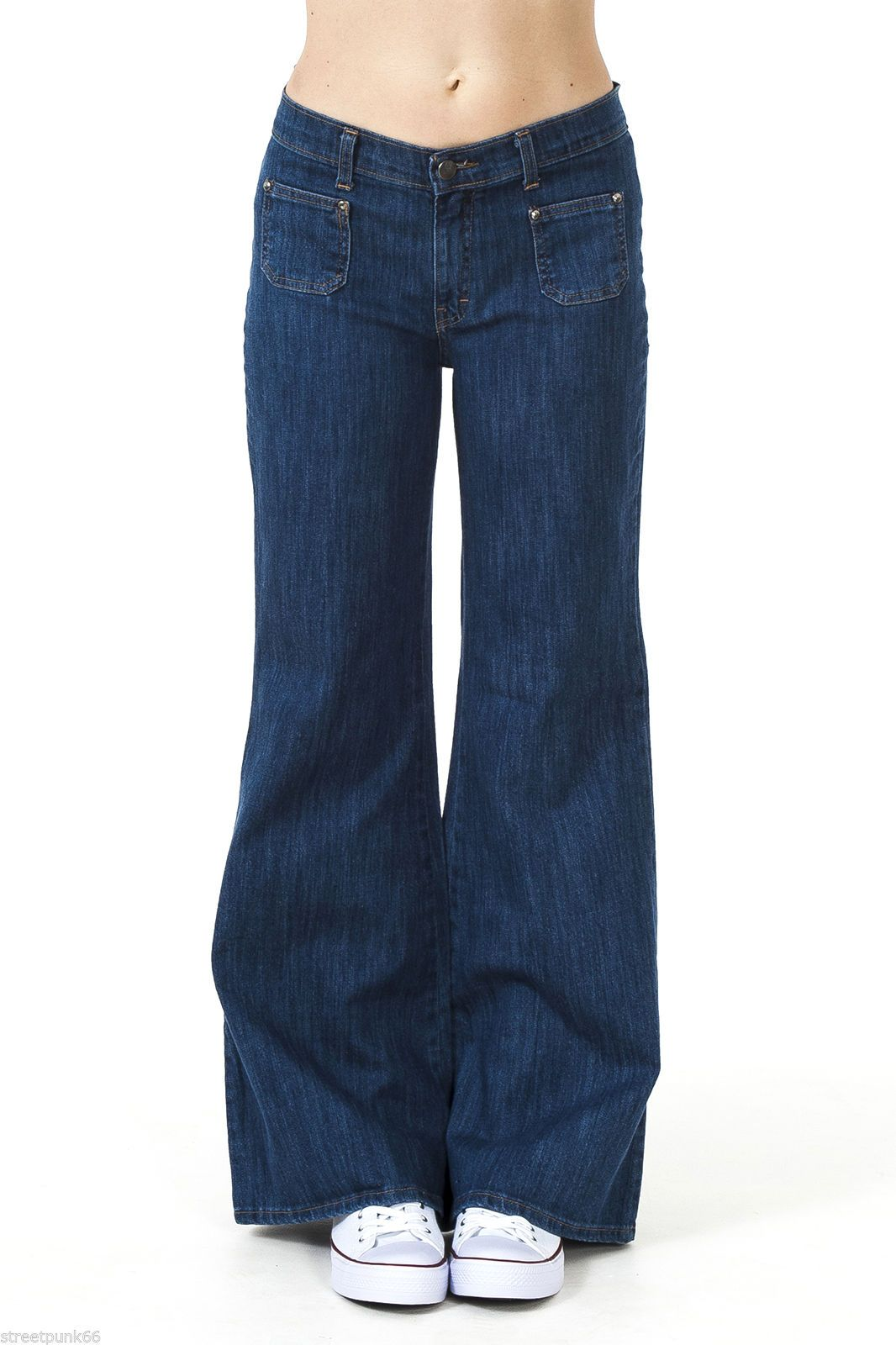 Womens 60s 70s Blue Denim Stretch Wide Bell Bottoms Flares